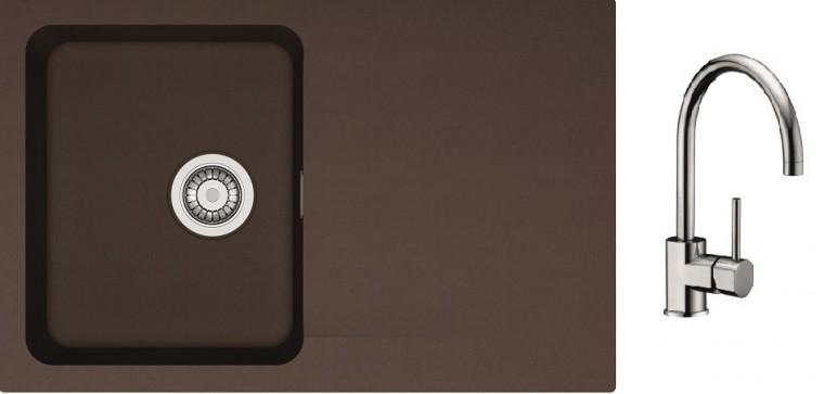 Dřezový set SET12 - Dřez tectonite + baterie (hnědá, stříbrná)