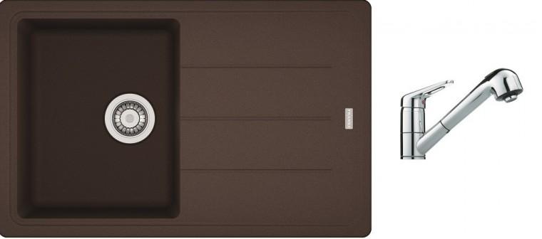 Dřezový set SET8 - Dřez granit + bateria (tmavě hnědá, stříbrná)