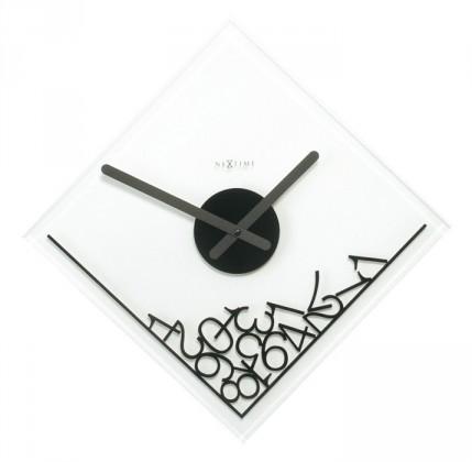 Dropped Numerals - hodiny , nástěnné, hranaté (sklo, bílé)