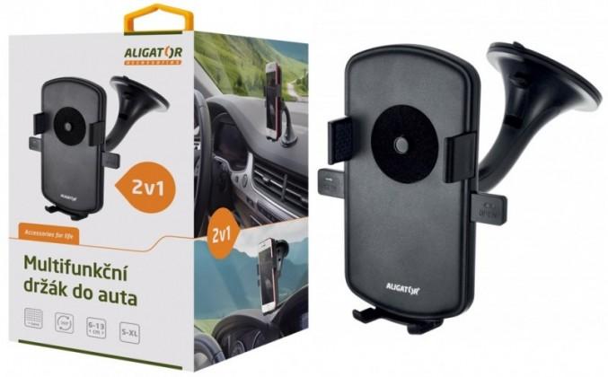 Držáky, stojany Držák do auta Aligator HA1 2v1, otočný 360°, automatický úchyt