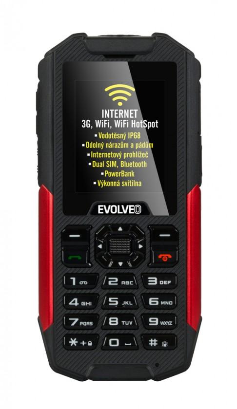 Dual SIM telefon Evolveo StrongPhone X3, červená/černá