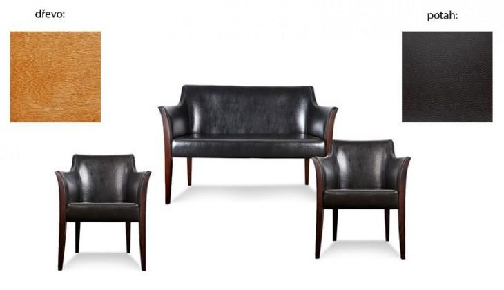 Dvojsedák Bari - 2sedák, 2x křeslo (extra leather black / dřevo č. 4)