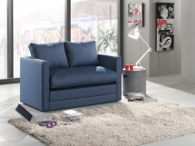Dvojsedák Dream rozkládací (jeans blue, modrá, látka)