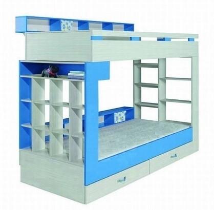 Dvoupatrová postel Komi KM 14 (Modrá)