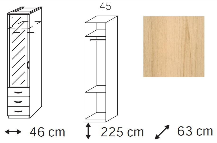 Elementa - šatní skříň, 1x dveře se zrcadlem, 3x zásuvka