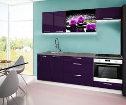 Emilia 2 - Kuchyňský blok A, 220cm (fialová, titan, orchidej)