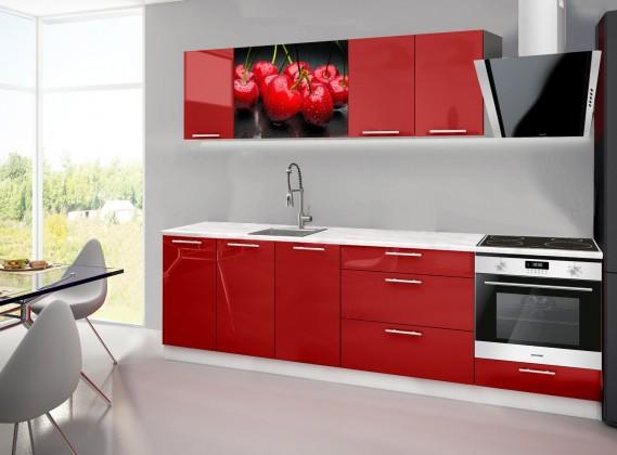 Emilia 2 - Kuchyňský blok A, 260cm (červená, mramor, třešně)