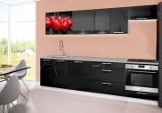 Emilia 2 - kuchyňský blok D 280 cm (černá, pracovní deska - titan)