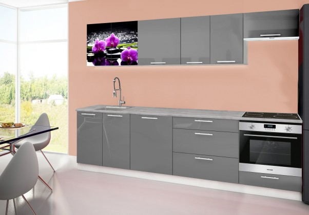 Emilia 2 - Kuchyňský blok D, 280cm (šedá, titan, orchidej)