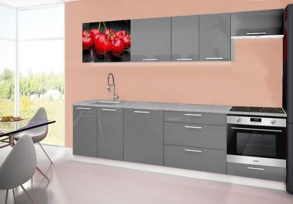 Emilia 2 - Kuchyňský blok D, 280cm (šedá, titan, třešně)