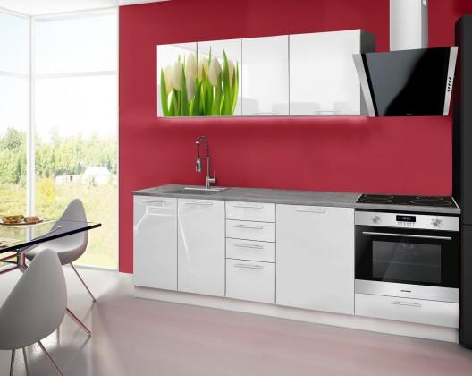 Emilia 2 - Kuchyňský blok E, 240cm (bílá, titan, tulipány)