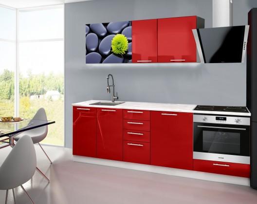 Emilia 2 - Kuchyňský blok E, 240cm (červená, mramor, kameny)