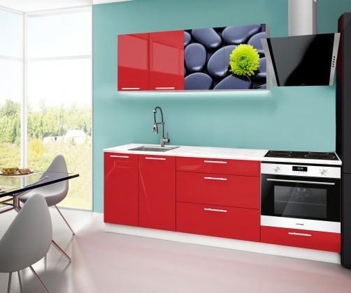 Emilia 2 - Kuchyňský blok F, 220cm (červená, mramor, kameny)