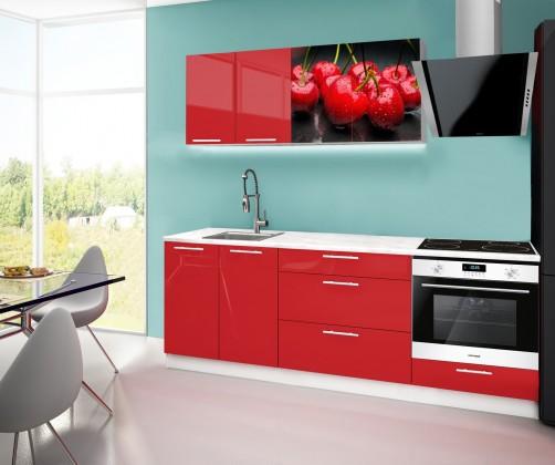 Emilia 2 - Kuchyňský blok F, 220cm (červená, mramor, třešně)