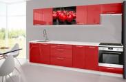 Emilia 2 - Kuchyňský blok H, 300cm (červená, mramor, třešně)
