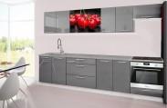 Emilia 2 - Kuchyňský blok H, 300cm (šedá, titan, třešně)