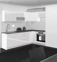 Emilia - Kuchyně rohová, 250/150 cm L (bílá, PD černá)