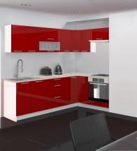 Emilia - Kuchyně rohová, 250/150 L (červená, travertin světlý)