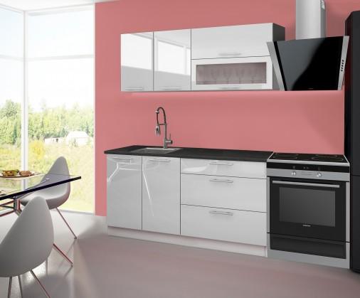 Emilia - Kuchyňský blok A, 160 cm (bílá, PD černá)