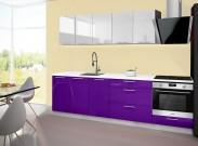 Emilia - Kuchyňský blok A, 200/260 cm (bílo-fialová, PD bílá)