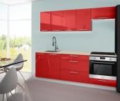 Emilia - Kuchyňský blok A, 220 cm (červená, PD travertin světlý)