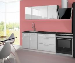 Emilia - Kuchyňský blok B, 160 cm (bílá, PD černá)