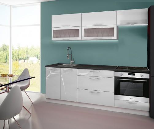 Emilia - Kuchyňský blok C, 220 cm (bílá, PD černá)