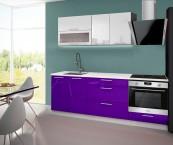 Emilia - Kuchyňský blok D, 160/220 cm (bílo-fialová, PD bílá)