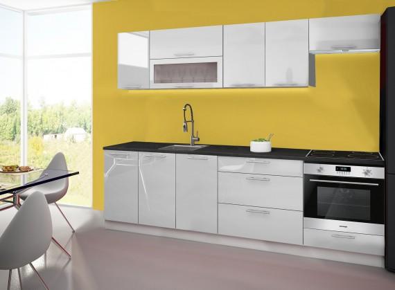 Emilia - Kuchyňský blok D, 260 cm (bílá, PD černá)