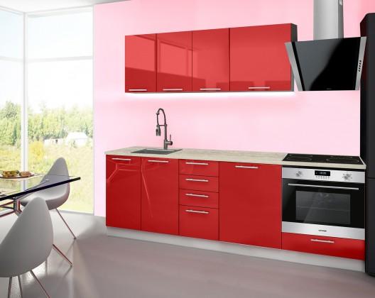 Emilia - Kuchyňský blok E, 180/240 (červená, travertin světlý)