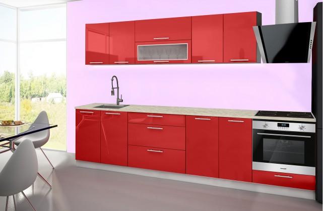 Emilia - Kuchyňský blok E, 240/300 (červená, travertin světlý)