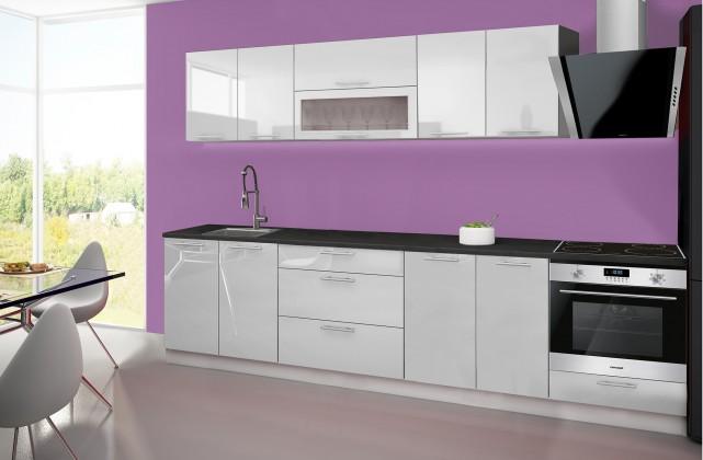Emilia - Kuchyňský blok E, 240/300 cm (bílá, PD černá)