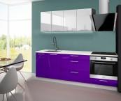 Emilia - Kuchyňský blok F, 160/220 cm (bílo-fialová, PD bílá)