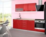 Emilia - Kuchyňský blok F, 180/240 (červená, travertin světlý)
