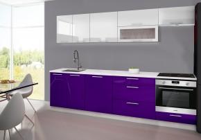 Emilia - Kuchyňský blok F, 280 cm (bílo-fialová, PD bílá)