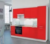 Emilia - Kuchyňský blok G, 280 cm (červená, PD travertin světlý)