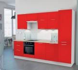 Emilia - Kuchyňský blok O, 300 cm (červená, PD travertin světlý)