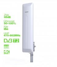 EVOLVEO HDO, aktivní venkovní DVB-T/T2 anténa, 45dB OBAL POŠKOZEN
