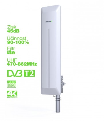 EVOLVEO HDO, aktivní venkovní DVB-T/T2 anténa, 45dB ROZBALENO