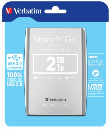 Externí disk Verbatim HDD 2TB USB 3.0 stříbrný