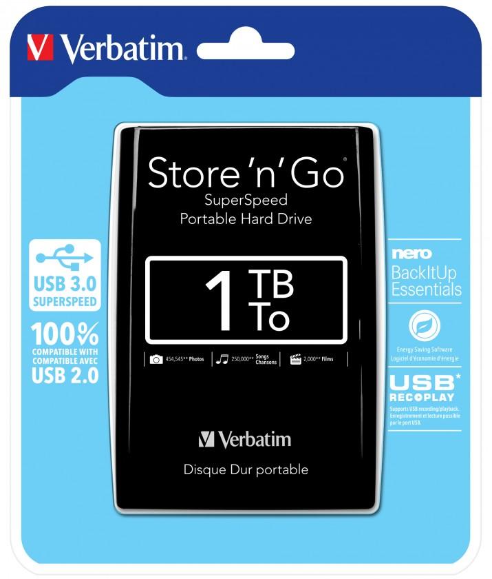 Externí HDD disky Verbatim Store 'n' Go, USB 3.0 - 1TB, černá 53023
