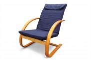 Fiori - Křeslo relaxační (třešeň / modré plátno)