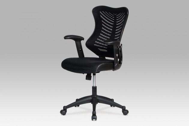 Fishbone 1 - Kancelářská židle, látka mesh+koženka (černá)