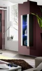 Fly - vitrína, 2xpolice, LED (černý mat/bílý lesk)