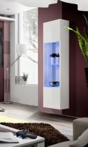 Fly - vitrína, 3x police, 2x úl.pr., LED (bílý mat/bílý lesk)