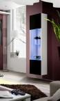 Fly - vitrína, 3x police, 2x úl.pr., LED (bílý mat/černý lesk)