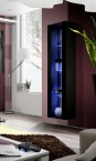 Fly - vitrína, 3x police, LED (černý mat/černý lesk)