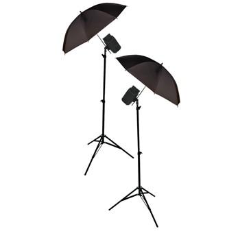 Foto, kamery ZLEVNĚNO König foto studio - 2x deštníky,stojany,lampy 200W POŠKOZEN OBAL