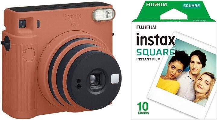 Fotoaparát Fujifilm Instax Square SQ1, oranžová +fotopapír 10ks
