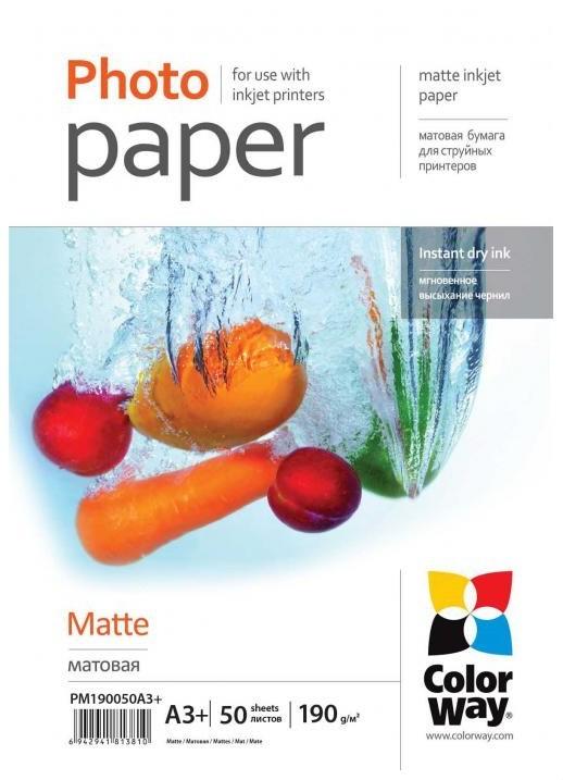 Fotopapír Colorway fotopapír matte 190g/m2, A3+/50 kusů (PM190050A3+)